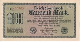 BILLETE DE ALEMANIA DE 1000 MARK DEL AÑO 1922 SERIE Tb NUMEROS ROJOS  (BANKNOTE) SIN CIRCULAR-UNCIRCULATED - [ 3] 1918-1933 : Weimar Republic