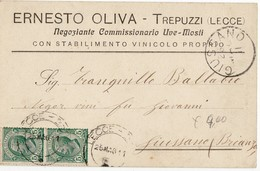 0782 LECCE TREPUZZI OLIVA COMM. UVE MOSTI STAB. VINICOLO - Storia Postale