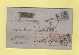 Genova - Ferrovia - 179 - 22 Fevrier 1869 - Entree Italie Ambulant Mont Cenis - 1861-78 Vittorio Emanuele II