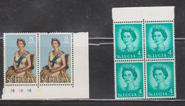 ST LUCIA Scott # 184, 187 MNH - Queen Elizabeth II Multiples - St.Lucia (1979-...)