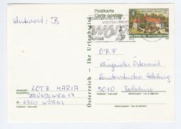 AUSTRIA Postal STATIONERY CARD SLOGAN Pmk WOROL WINTERSPORT  Stamps SPIELFELD  CASTLE  Cover Sport - Stamped Stationery