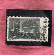 CHINA CINA 1962 45th Anniversary Of The Russian Revolution Soldiers Storming Winter Palace 20f USATO USED OBLITERE' - 1949 - ... Repubblica Popolare