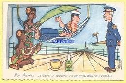 Moi Amiral Je Suis D Accord Pour Prolonger L Escale   ( Carte Signee  GOUX , Vahinée Pin Up ) - Humoristiques