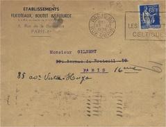 1938- Enveloppe  Ets Flicoteaux,Boutet & Fleurot ( Paris 6è ) Affr. Paix 65 C. Perforé F B - Perforadas
