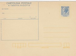 ENTIER ITALIE NEUF. CARTOLINA POSTALE A TARIFFA RIDOTTA.  60 LIRE - Italia
