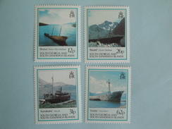 1990  Falkland Géorgie Du Sud Yvert 202/5 ** Bateaux Ships  Scott Xx  Michel 186/9  SG 197/00  Wrecks - Géorgie Du Sud