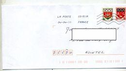 Lettre Flamme Chiffree Sur Armoirie Nantes Curiosité - Marcophilie (Lettres)
