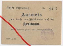 Stadt Elsterberg - Ausweis Zum Kaufe Von Fleischwaren Auf Der Freibank - Bürgermeisterstempel - Ca. 1915 - Vogtland