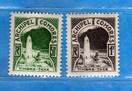 COMORES - 1950 *- TIMBRE TAXE. Yvert. 1-2. MH. Leggera Traccia Di Linguella.  2 Scan..  Vedi Descrizione. - Francia (vecchie Colonie E Protettorati)
