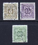 DENMARK, 1937, Used Stamp(s), Porto, MI P33=P38, #10251, 3 Values Only - Postage Due