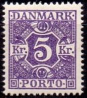 DENEMARKEN 1921-25 Portzegel 5kr Violet Gladde Achtergrond PF-MNH - Port Dû (Taxe)
