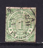 NORDDEUTSCHER POSTBEZIRK, 1868 Cancelled Stamp(s) First Issue, 1 Kreuzer  , MI 7 # 16046, - Norddeutscher Postbezirk
