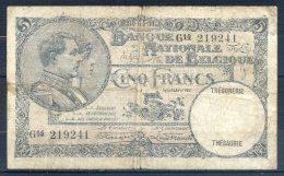 506-Belgique Billet De 5 Francs 1931 G14 - [ 2] 1831-... : Belgian Kingdom