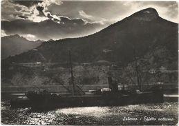 Z3115 Salerno - Effetto Notturno Sul Porto - Barche Boats Bateaux - Notte Nuit Night Nacht Noche / Viaggiata 1950 - Salerno