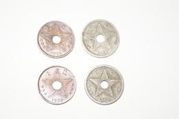 Lot De 4 Pièces ,2 De 1 Cent. De 1910 Et De 2 X 5 Centimes,1908 Et 1921 ,Congo Belge - Congo (Belge) & Ruanda-Urundi