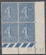 FRANCE  Coin Daté **  Type Semeuse Lignée 1f  Bleu  Yvert 205  23.7.32  Neuf Sans Charnière - Dated Corners