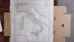 RARE CARTE ROUTIERE DE L' ITALIE -TH. DUVOTENAY ELEVE DE M.P. LAPIE-1836- PUBLIEE PAR AMABLE COSTES-TURQUIE-SICILE-CORSE - Cartes Routières