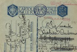 MARINA MILITARE WWII FRANCHIGIA MARINA TRAPANI 1941 DIFESA M.M. POLA - Military Mail (PM)
