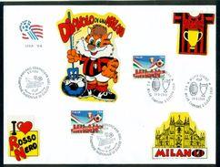 MILAN- BUSTA COLLAGE CM. 24 X  18 - MARCOFILIA - MILAN CAMPIONE  NAZIONALE DI CALCIO 1993/94 - Usados