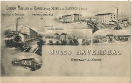 Romilly Sur Seine Publicité Grands Moulins Romilly Et De Sauvage Jules Raverdeau Orge Brasserie Bière - Romilly-sur-Seine