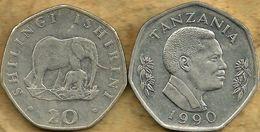 TANZANIA 20 SHILLINGI ELEPHANT ANIMAL FRONT MAN HEAD BACK 1990 KM23 VF READ DESCRIPTION CAREFULLY!!! - Tanzania