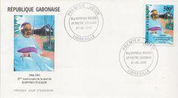 Gabon Andre Raponda Walker Stamp On FDC, Very Rare Item - Gabon