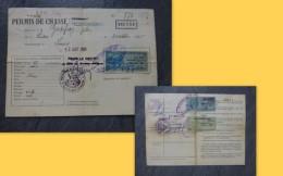 Liniers (86) Permis De Chasse Godefroy, Timbres Fiscaux Forte Cote 1952 à 54 ; Ref  663 VP 35 - Revenue Stamps
