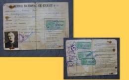 Liniers (86) Permis De Chasse Ravaud, Timbres Fiscaux Forte Cote 1958 à 61 ; Ref  664 VP 35 - Revenue Stamps
