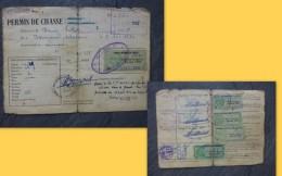 Liniers (86) Permis De Chasse Violet, Timbres Fiscaux Forte Cote 1954 à 61 ; Ref  666 VP 35 - Fiscaux