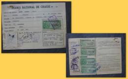 Liniers (86) Permis De Chasse Neveu, Timbres Fiscaux Forte Cote 1961 ; Ref  667 VP 35 - Revenue Stamps