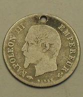 1859 - France - 20 CENTIMES, NAPOLEON III (A), Tête Nue, Argent, Silver, KM 778.1, Gad 305 - France