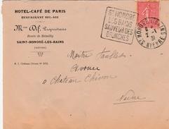France Daguin St Honoré Les Bains Sauveur Des Bronches Sur Lettre 1931 - Sellados Mecánicos (Publicitario)