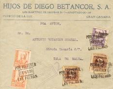España 1938. Canarias. Carta De Las Palmas A Malta. Censura. - Marcas De Censura Nacional