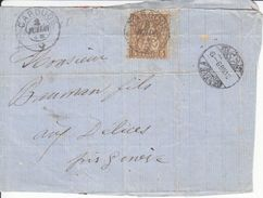 30B ( JAUNE-BRUN) SUR DEVANT DE  LETTRE DE 1867 - CACHET DE CAROUGE / GE - 1862-1881 Helvetia Seduta (dentellati)