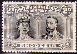 RHODESIA 1910 SG #128 2d MH CV £65 Perf.14 Black And Slate-grey Double Portrait - Southern Rhodesia (...-1964)