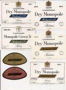 Etiquette - Lot De 6 Champagne - Heidsieck & Co Dry Monopole 1988, 1979, Diamant Bleu Et Rosé - Collections & Sets