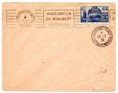 SOMME - Dépt N° 80 = VILLERS BRETONNEUX 1938 =  FLAMME RBV ' INAUGURATION  MONUMENT AUSTRALIEN ' + AUSTRALIAN MEMORIAL - Postmark Collection (Covers)