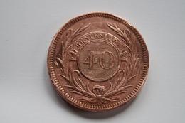 REPUBLICA ORIENTAL DEL URUGUAY 1857,pièce De 40 Centesimos ( Lettre D ),Belle Pièce Pour Collection - Uruguay