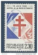 """Timbre France Yt 2656 """" L´Appel à La Résistance """" 1990 Neuf - France"""