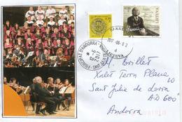 Compositeur Lituanien Juliui Juzeliūnui, Sur Lettre Adressée ANDORRA, Avec Timbre à Date Arrivée - Music