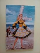 Carte Brodée - Bretagne - Bigouden N°57 B - Illustrée Par Elsi - Embroidered