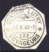 CAHET SUR FRAGEMENT - STATION LUTRY- CFF - VOYAGEURS - 12.10.1940. - Railway