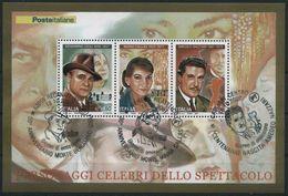 """2007 Italia, Foglietto """"personaggi Celebri Dello Spettacolo"""" Con Annullo Ufficiale F.D.C., Serie Completa - 6. 1946-.. Republic"""