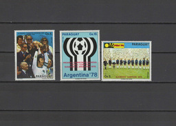 Paraguay 1974 Football Soccer World Cup Set Of 3 MNH - Coppa Del Mondo