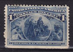 United States 1893 Mi. 73    1c. Columbus Perf. 3-Sides MH* (2 Scans) - Ungebraucht