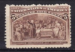 United States 1893 1893 Mi. 77   5c. Columbus MNG (Mint No Gum)* (2 Scans) - Ungebraucht