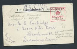 Egypt 1915 WWI Active Service Mail Highland Mounted Brigade To UK - Égypte