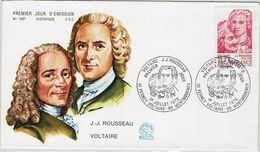Frankreich France 1978 - Voltaire Und Jean-Jacques Rousseau - MiNr 2111 FDC - Briefe U. Dokumente