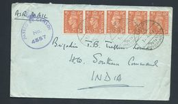 Egypt WWII 1942 Military Mail To India , Franked With 5 X 2d GB KGVI Definitives - Egypt