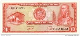 PERU 10 SOLES DE ORO 1969 P-100a UNC [PE100a] - Peru